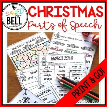 Christmas Parts Of Speech Worksheets By Carol Bell Saved By A Bell