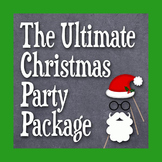 Christmas Party Bundle - Photo Booth Props, Decorations, Bingo, Games -Printable