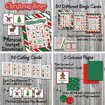 Christmas Party Bundle - Photo Booth Props, Decorations, Bingo, Games -Printable