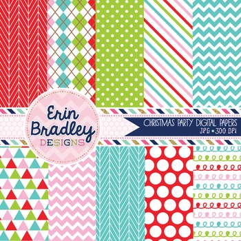 Christmas Party Digital Papers Chevron Polka Dots Striped Patterned Backgrounds