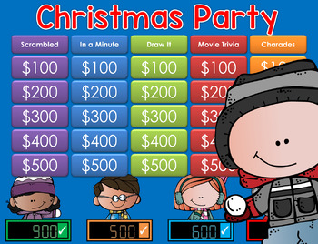 Christmas Party Jeopardy Style Game Show  K-2nd Grade