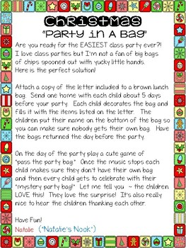 Christmas party in a bag by natalies nook teachers pay teachers christmas party in a bag spiritdancerdesigns Image collections