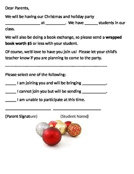 Christmas Party Letter by Simple Touches | Teachers Pay Teachers