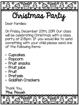 Christmas Party Letter--English/Spanish