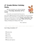 Winter/Christmas Party Letter home