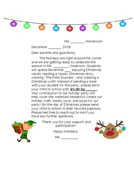 Holiday Party Letter To Parents Worksheets Teaching Resources Tpt