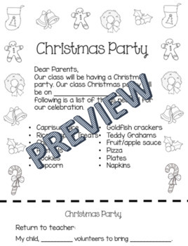 Christmas Party Note / Letter English and Spanish (Winter Party)