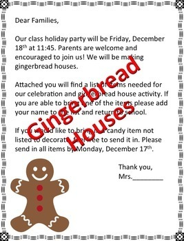 Christmas Party Parent Letters (Editable)