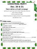 Christmas Party Signup sheet EDITABLE Holiday Precious Preschoolers