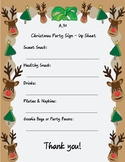 Christmas Party Volunteer Sign-Up Sheet
