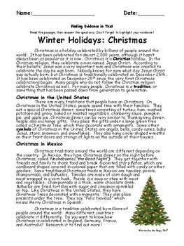 Christmas Passage - Highlighting Evidence / Text-Dependent Questions