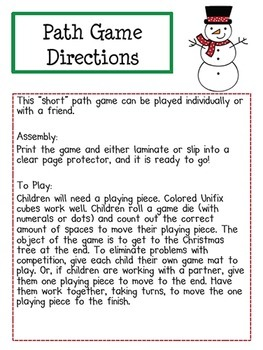 FREE Christmas Path Game