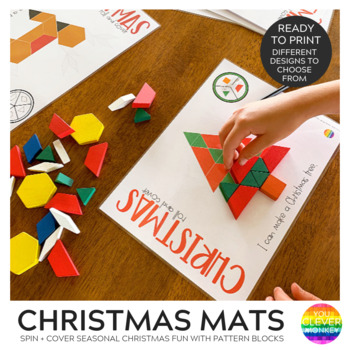 Christmas Pattern Block Spin and Cover Math Center