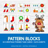 Christmas Pattern Blocks Activity Task Cards and Data Sheets