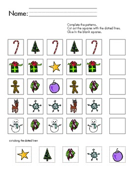christmas pattern worksheet by slate modern teachers pay teachers. Black Bedroom Furniture Sets. Home Design Ideas