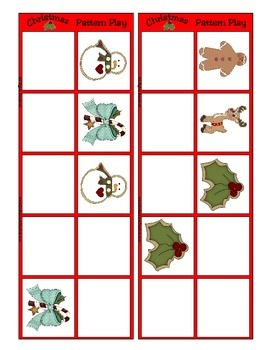 Christmas Patterning Play Game - Holiday Fun ~ Early Reading Center