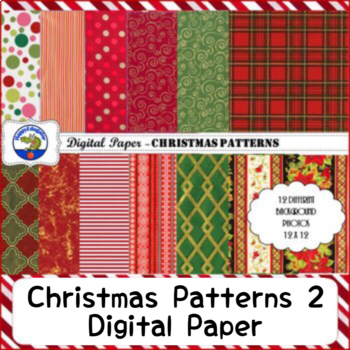 Christmas Patterns 2 Backgrounds Digital Paper Assorted