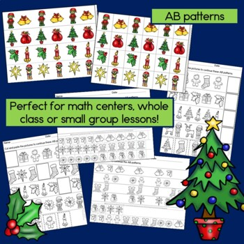 Christmas Patterns Math Center with AB, ABC, AAB & ABB Patterns