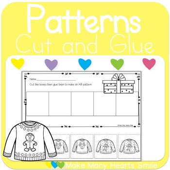 Christmas Patterns Cut and Glue Worksheets: Get 3 for 2