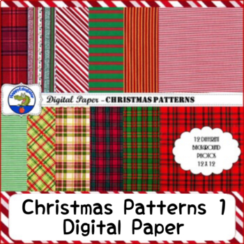 Christmas Patterns Backgrounds Digital Paper Stripes and Plaids