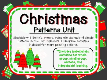 Christmas Patterns Unit-Activities and Printables-B&W sets included