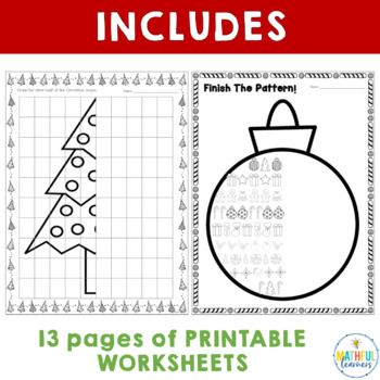 Christmas Patterns and Symmetry Worksheets