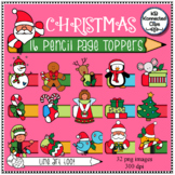 16 Christmas Pencil Page Toppers with Line Art!