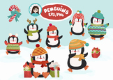 Christmas Penguin Cliparts