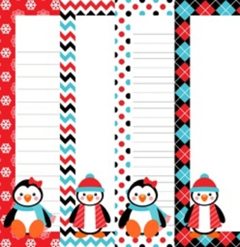 Christmas Winter Penguin Pals Writing Papers - 3 Styles (7 1/2 x 10)
