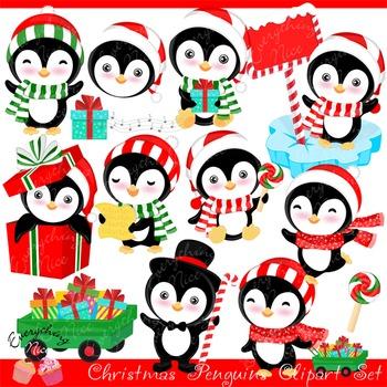 Christmas Penguins 2 Clipart Set
