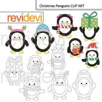 Christmas Penguins Clip Art