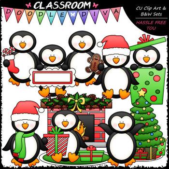 Christmas Penguins - Clip Art & B&W Set