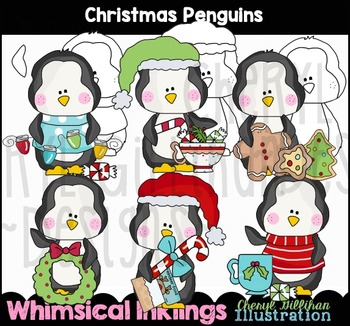 Christmas Penguins Clipart Collection NO LICENSE REQUIRED