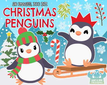 Christmas Penguins Clipart | Instant Download Vector Art | Commercial Use