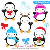 Christmas Penguins Clipart Scrapbook printables, winter holiday clip art