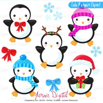 Christmas Penguins Clipart Scrapbook printables, winter ho