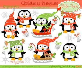 christmas winter penguins clipart set 2 penguin clip art by violet