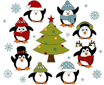Christmas Penguins Digital Clip Art