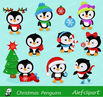 Christmas Penguins Penguins Clipart Digital Clipart Set.