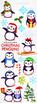 Christmas Penguins Watercolor Clipart   Instant Download Vector Art   Commercial
