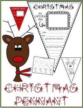 CHRISTMAS Pennant & REINDEER Drawing