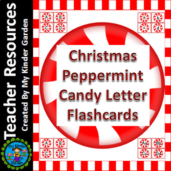 Christmas Peppermint Candy  Alphabet Letter Flashcards Uppercase and Lowercase