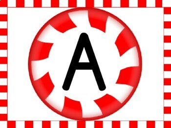 Christmas Peppermint Candy Alphabet Letter Posters Uppercase and Lowercase