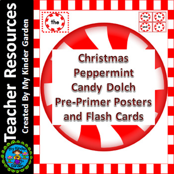 Christmas Peppermint Candy Dolch Pre-Primer Sight Word Fla