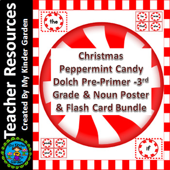 Christmas Peppermint Candy Dolch PrePrimer-3rd Sight Word Flashcards & Posters