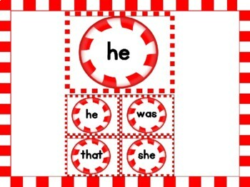 Christmas Peppermint Candy Dolch Primer Sight Word Flashcards and Posters