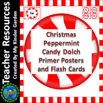 Christmas Peppermint Candy Dolch Primer Sight Word Flashca
