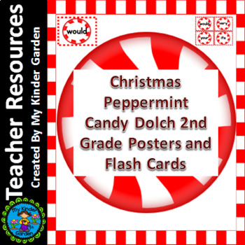 Christmas Peppermint Candy Dolch Second Grade Sight Word Flashcards and Posters