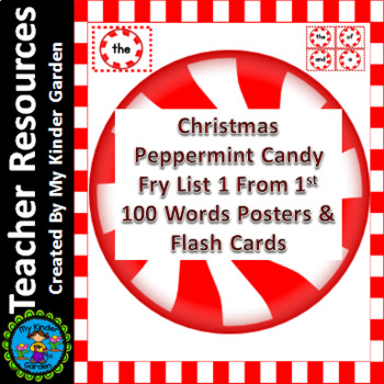 Christmas Peppermint Candy Fry List 1 of 1st 100 Sight Word Flashcards & Posters
