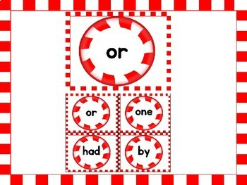 Christmas Peppermint Candy Fry List 2 of 1st 100 Sight Word Flashcards & Posters